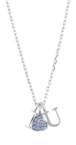 Guess Damen-Kette mit Anhänger KISS & Love Halskette Edelstahl Kristall blau 40 cm-UBN61089