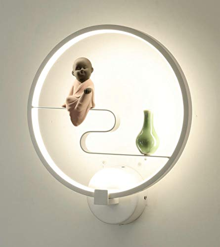 Moderne kunst ronde wandlamp met bloem flamingo wit blauw oog LED woonkamer wandlamp H_3 variabele lamp