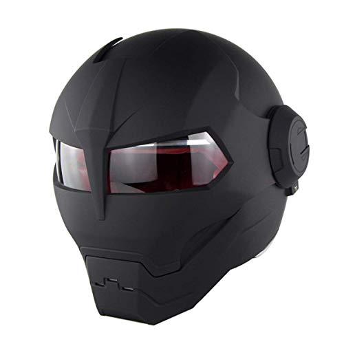 MENUDOWN Motorrad Helme,Motocrosshelme Full Face Touring Motorrad Harley Vintage Helm Klapphelme Rennhelm Mit Motorradhandschuhen Motorhelm Iron Man - Persönlichkeit - Cool,Matteblack-XL:(59-60cm)
