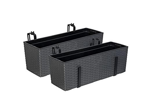 Set: 2 x XL Balkonkasten, Pflanzkasten mit Wasserspeicher im Rattan Design aus Kunststoff in Anthrazit. Mit Flexibler Metallhalterung. Maße 56 x 18,5 x 19,5 cm.