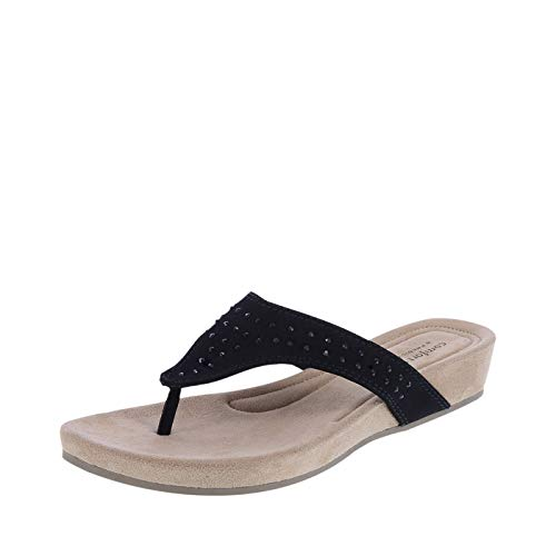 Predictions Comfort Plus Black Women's Shirley Wedge Sandal 9.5 Regular