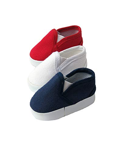 American Fashion World 3 Pack of Canvas Slip Ons Red White and Blue Fits 18 inch Doll