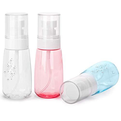 HYISHION 3 Piezas de 60ml Bote Spray Botella de Aerosol Vacío Plástico Transparente Niebla Fina Atomizador de Viaje Recargable Conjunto de Botellas Maquillaje Vacio de Agua Claro Contenedor