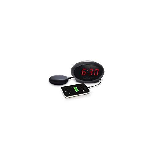 Geemarc SBT600 Vibrationswecker mit extra lautem Alarm 75 dB + Vibration (deutsche Version). USB Anschluss für die Aufladung Ihres Smartphones oder Anderer Geräte