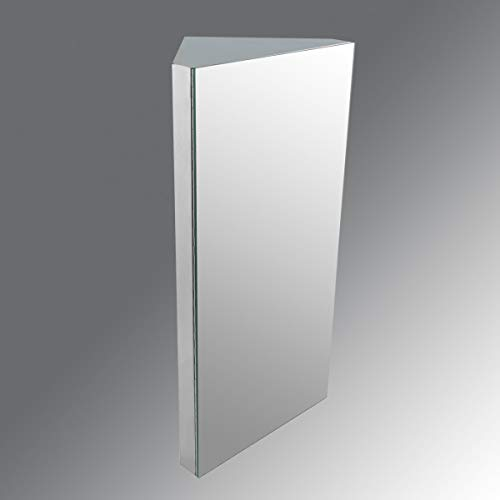Renovators Supply Manufacturing Corner Medicine Cabinet Polished Stainless Steel Mirror Door Three Shelves