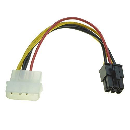 R03 6pin PCIe auf 4 Pin Molex Grafikkarte Stromkabel 6pin auf 4pin Adapter Stromadapter Kabel, 6pin PCI-E auf 5,25 Molex Stromanschlüsse Stecker