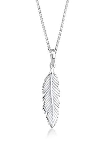 Elli Halskette Damen Feder Anhänger Boho Festival in 925 Sterling Silber