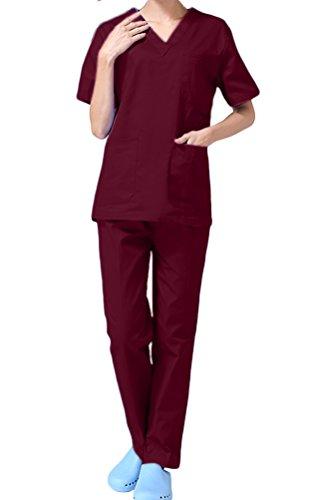 Scrub Set Lab Medical Uniform Women Man Scrub Top and Pant 2 PC Set Unisex Workwear CF9027 (S, Dark red Women)