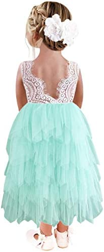 2Bunnies Girl Peony Lace Back A Line Tiered Tutu Tulle Flower Girl Dress Mint Sleeveless Maxi product image