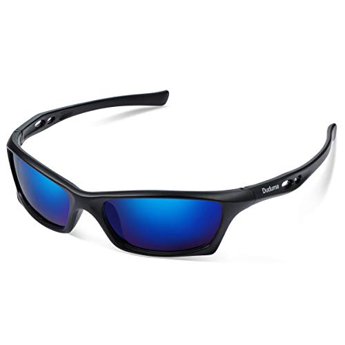 Duduma Mens and Womens Polarized Sports Sunglasses for Baseball Softball Fishing Golf Running Cycling Driving Hiking Unbreakable Shades Du649(Black Matte Frame with Black Lens)