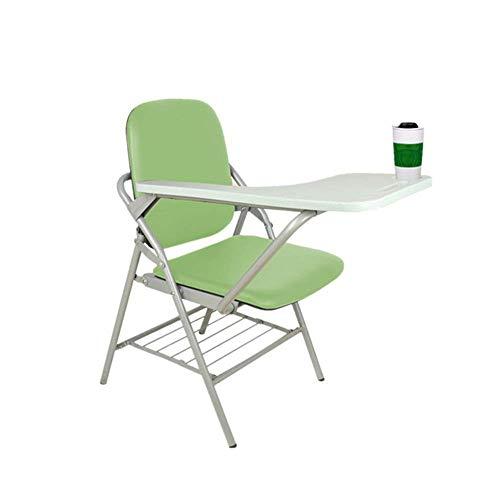 Möbeldekoration 48x50x82cm Klappstuhl Klapptrainingsstuhl Mitarbeiter Schreibstuhl Computer Office Garden Home Farben: Grün Schwarz Dunkelgrün mit Handklapptablett (Farbe: Grün Größe: 48x50x82cm)