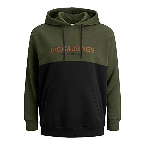 Jack & Jones Plus Jjeurban Blocking Sweat Hood Noos PS Sweatshirt Capuche, Nuit forestière/détail : imprimé hawaïen Noir, 6XL Homme