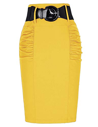 Belle Poque Women Yellow Skirt for Work Knee Length S KK271-10