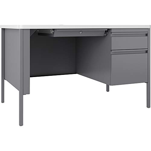 Lorell Fortress White/Platinum Steel Teachers Pedestal Desk