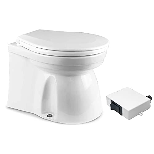 TMC Marine Electric Toilet Medium Household Style Bowl with Macerator Pump for Boats and RVs, 12V FO-1599