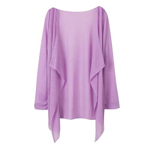 Leyben Women's Tops, Summer Women Fashion Long Solid Thin Cardigan Modal Light Cool Sun Protection Clothing Tops(,Purple)
