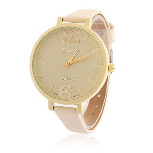 HBR Reloj de pulsera para mujer, de acero inoxidable y cuero, casual, de cuarzo, multifunción, reloj de cuarzo para mujer, color beige