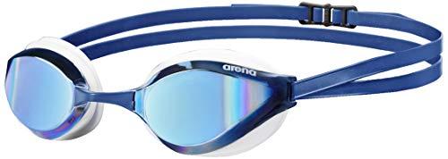 arena Unisex Training Wettkampf Schwimmbrille Python Mirror (Verspiegelt, UV-Schutz, Anti-Fog Beschichtung), blau (Blue Mirror-White), One Size