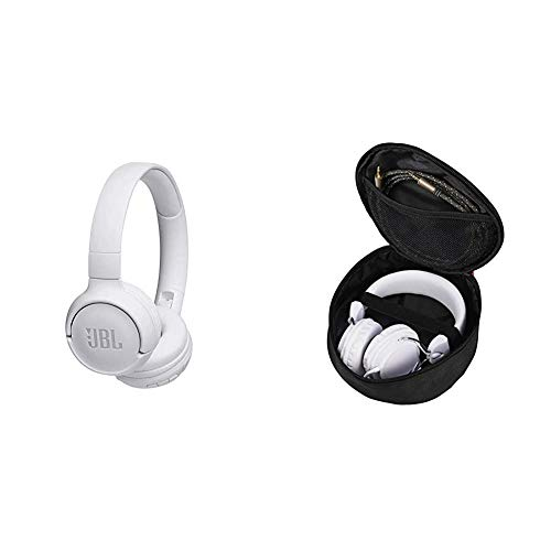 JBL Tune500BT On-Ear Bluetooth-Kopfhörer - Musik Streaming bis zu 16 Stunden mit nur einer Akku-Ladung Weiß & Hama Kopfhörer-Tasche für On Ear/Over Ear Headset (17 x 16,5 x 6 cm, Schutztasche) schwarz
