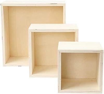 efco–Cajas de Madera sin Tratar Cuadrado, Color marrón, Juego de 3