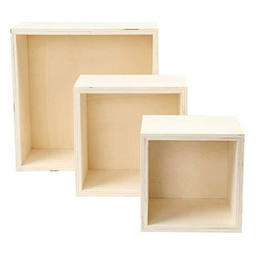 efco – Cajas de Madera sin Tratar Cuadrado, Color marrón, Juego de ...