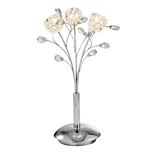 Lámpara de mesita de noche Lámpara de mesa de cristal cromado moderna elegante para la decoración de la mesita de noche del dormitorio Lámpara de mesa Luz de noche, H 21.3 'Lámpara de escritorio (Colo