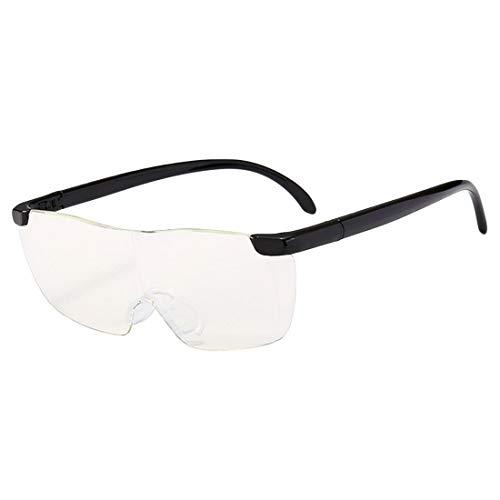 origin メガネ型ルーペ 1.6倍 拡大鏡 ハンズフリー レンズ 通常のメガネと同時装着可能 フチなし 読書 細かい作業用 眼鏡ストラップ付き 収納ポーチ付き 男女兼用 (黒) LOUP16SET-BK