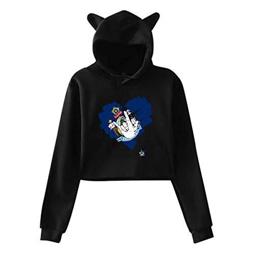 WLQP Camiseta sin Mangas para Hombre Girls Cute Cat Ear Hoodie Sweatshirts I Love You Maine State Heart Setu Asana Hoody Sweater