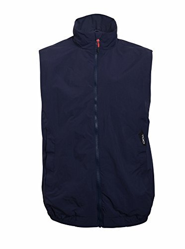 TOIO Mens Team Vest Windproof and Water Resistant Blue Montecarlo Adjustable Arm Bellows with Coulisse 100% Nylon Small