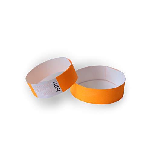 MP – Braccialetti Tyvek per Eventi, Confezione da 100 Braccialetti Discoteca, Numerati | Braccialetti di Carta Monouso, Indistruttibili ed Impermeabili | Colore Arancione Neon
