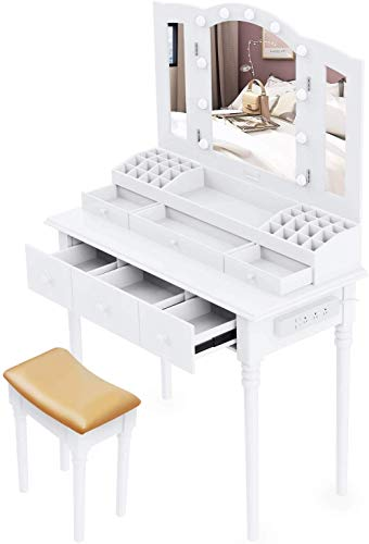 Best Deals! Suninhome Dressing Table,Vanity Set Multifunctional Makeup Table with Stool Large Storag...