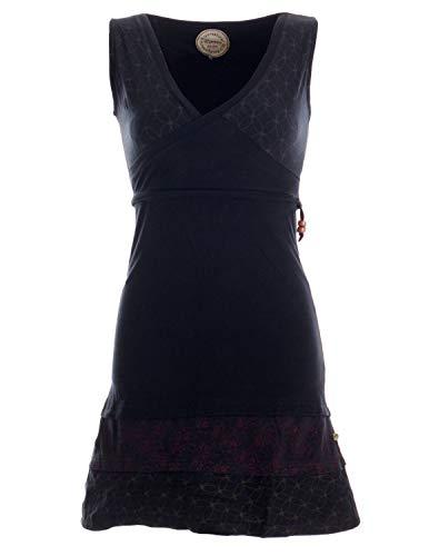Vishes - Alternative Bekleidung - Kurzes ärmelloses Mini Sommerkleid Bedruckt - Tunika Schwarz 38 (M)