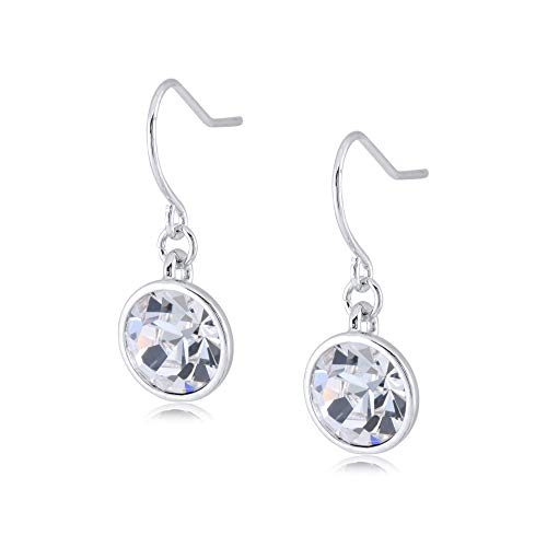 UPSERA Silver Tone 10mm Round Crystals from Swarovski Clear Dangle Earrings