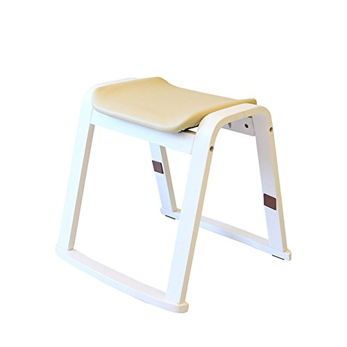 FEI Confortable Tabouret en bois tabouret en bois changement chaussures tabouret Solide et durable (Couleur : Blanc)