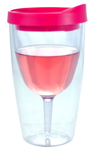 Wine Tumbler Pink Drink Through Lid 16oz - Insulated Double Wall Acrylic w/See Through Cup Design - For the Pool Beach More!