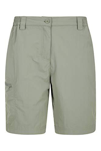 Mountain Warehouse Pantalones Cortos Navigator antimosquitos para Mujer - Ligeros - Protección UV - Parte Trasera y Bolsillos elásticos - para Senderismo y Viajes Caqui 46
