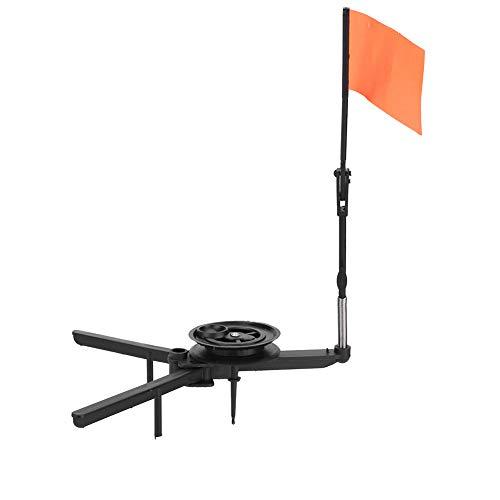 Dilwe Eisfischen Angelrute, Tip-Up freie Hand haltbar kompakte Metallstange orange Flagge für Eisfischen Angler Angelgerät