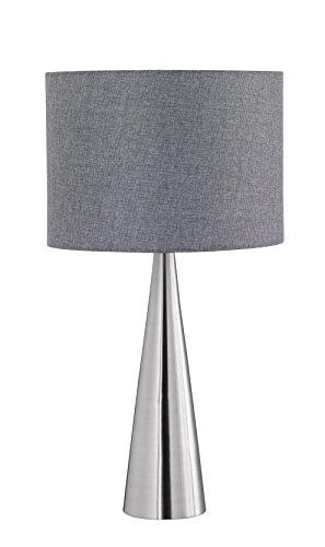 Trio Leuchten LED Tischleuchte Cosinus 556500107, Metall Nickel matt, Stoffschirm grau, exkl. 1x E27