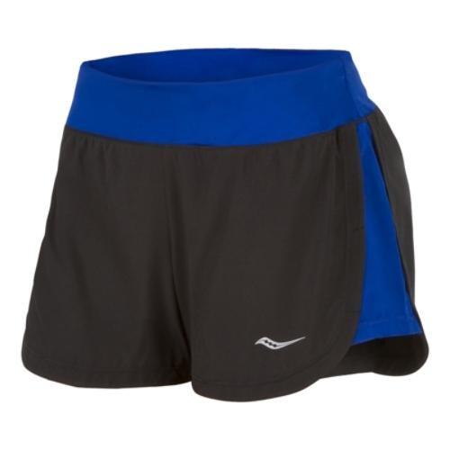 Saucony Women's Impulse Shorts, Black/Cobalt, Medium
