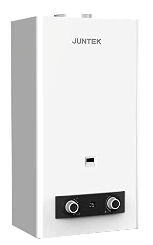 Calentador Atmosférico Butano 11Litros | Calentador de Agua a Gas Butano con Tiro Natural | Bajo NOx | Encendido Automático | JUNTEK