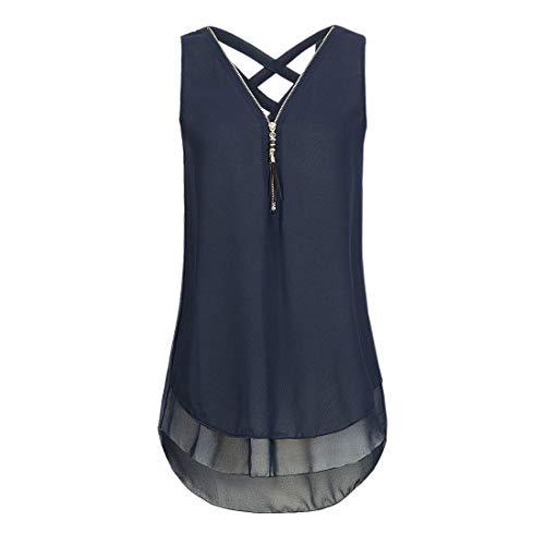 Camiseta sin Mangas para Mujer con Cremallera Cruzada y Escote Redondo para Mujer, para Yoga, Deportes de Entrenamiento para Mujer con Telas Transpirables de Secado rápido y Comodidad sin Costuras