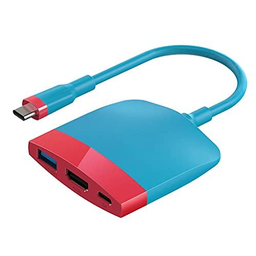 SBSNH Cambie la Base de TV para la estación de Acoplamiento portátil USB C a 4K HDMI Compatible con USB 3.0 PD (Color : Red and Blue)