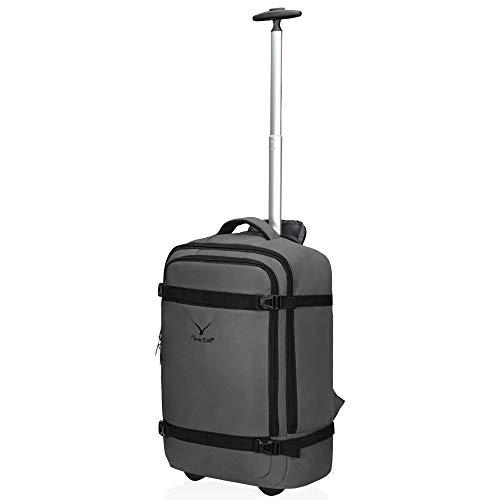 Hynes Eagle 42L Trolley Rucksack Reisetasche mit Rollen Handgepäck Handgepäckkoffer für Damen und Herren Grau