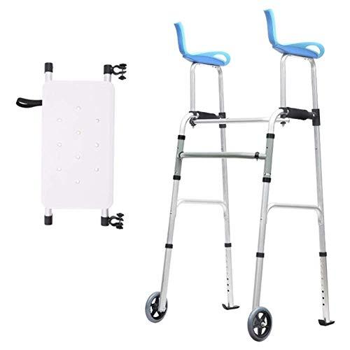Gehgestell, Adult Seniors Walker mit Armlehne und 2 Rädern, Faltbarer, aufrecht stehender medizinischer Rollator, höhenverstellbar, Last 180 kg, Platzsparend