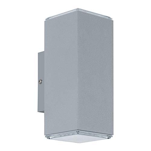 EGLO LED Außen-Wandlampe Tabo, 2 flammige Außenleuchte, Wandleuchte aus Alu, Farbe: Silber, IP44