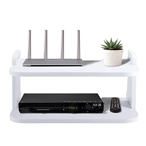 Estante flotante de TV de 2 capas, MOSINITTY para montaje en pared de madera, estante flotante STB para enrutador de componentes de TV STB