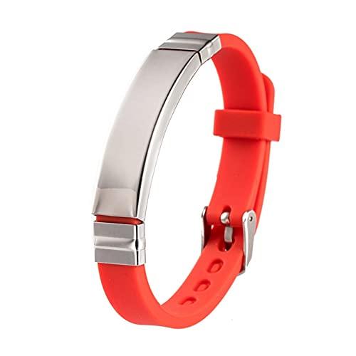 HEMOTONE Edelstahl Silikon geometrisches Armband Armband Gummi Herrenarmband Armreif (Metal Color : 3)
