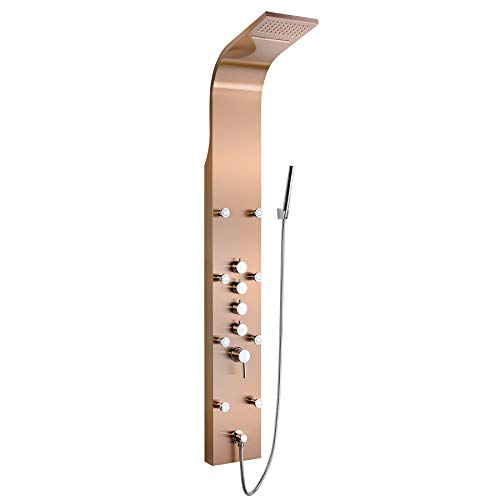 """Golden Vantage 65"""" Multi-Function Rainfall Waterfall Style Bronze Finish Wall Mount Bathroom Shower Panel Tower System"""