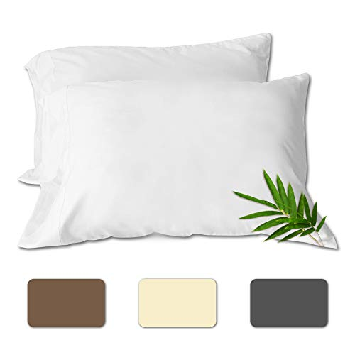 """ComfyHome Bamboo Pillowcover Set of 2 Cooling Pillow Case Queen and King Size Covers Bamboo Viscose - Envelop Style - Quick Dry and Anti-Odor - (White, 20""""x30"""")"""