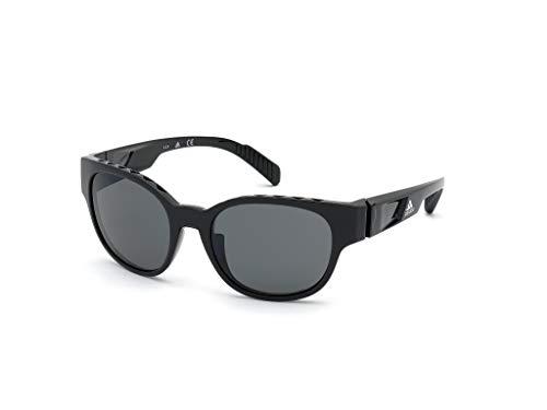 adidas SP0009 Gafas, shiny black/smoke polarized, 55 Unisex Adulto